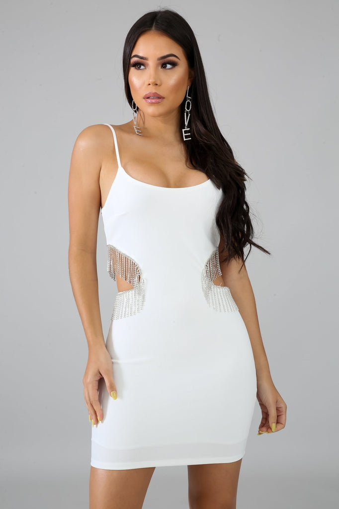 White Cut-Out Fringe Diamond Dress