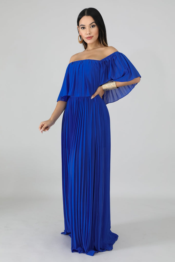 Royal Blue Accordion Pleated Maxi Dress