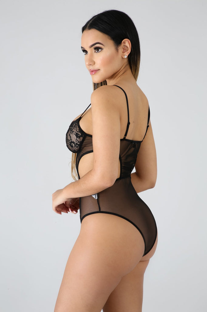 Black Cut-Out Side Lace Sheer Bodysuit - FINAL SALE
