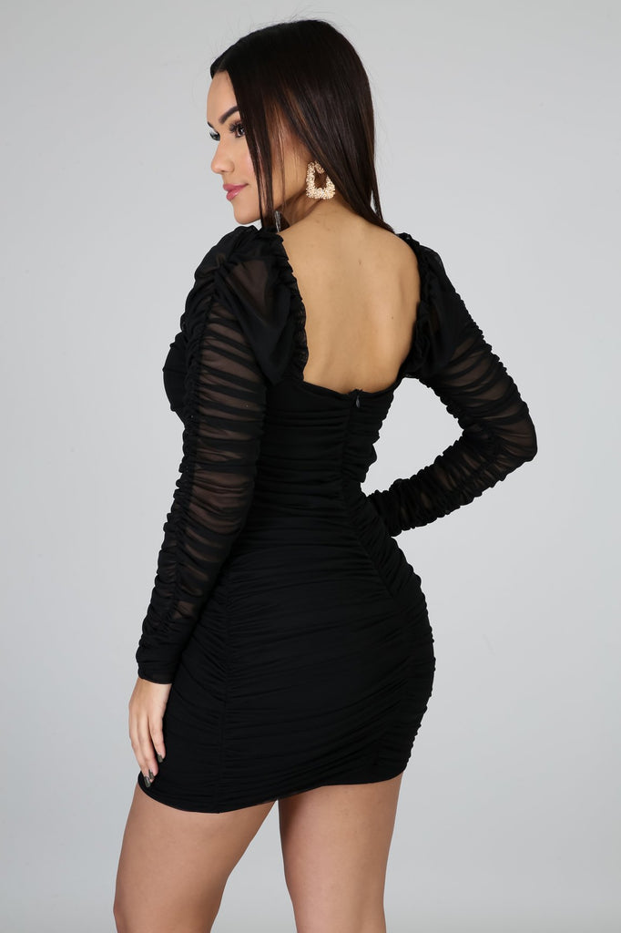 Marge Black Long Sleeve Bodycon Mini Dress