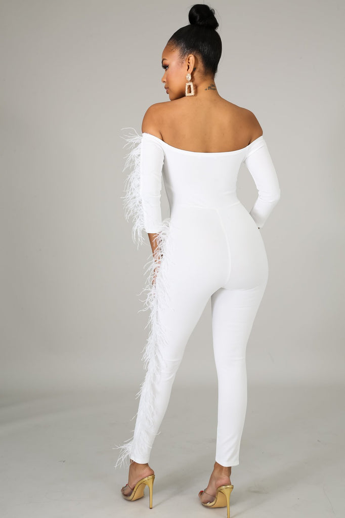 Carmella White Feathery Jumpsuit