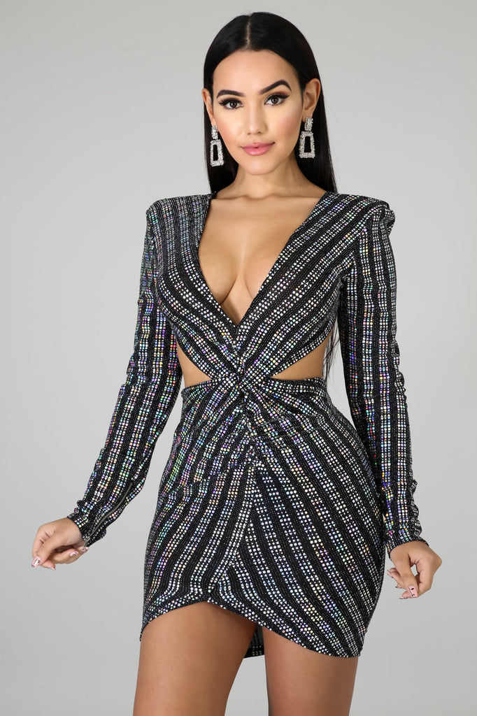 Kandi Sequins Cut-Out Mini Dress