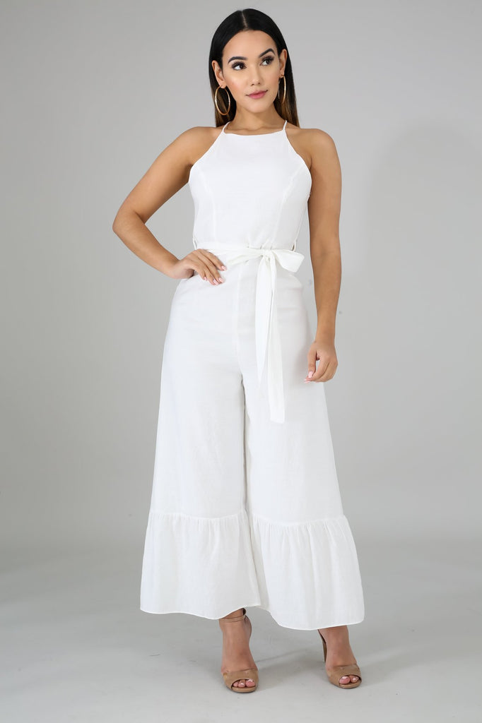 Terena White Ruffle Wide Leg Jumper