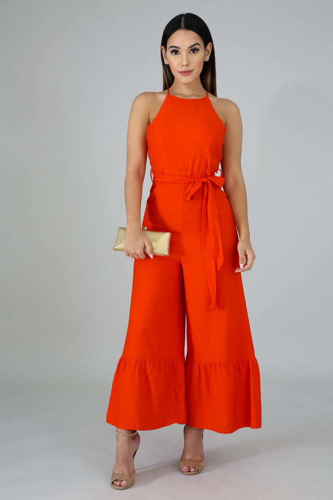 Terena Orange Ruffle Wide Leg Jumper