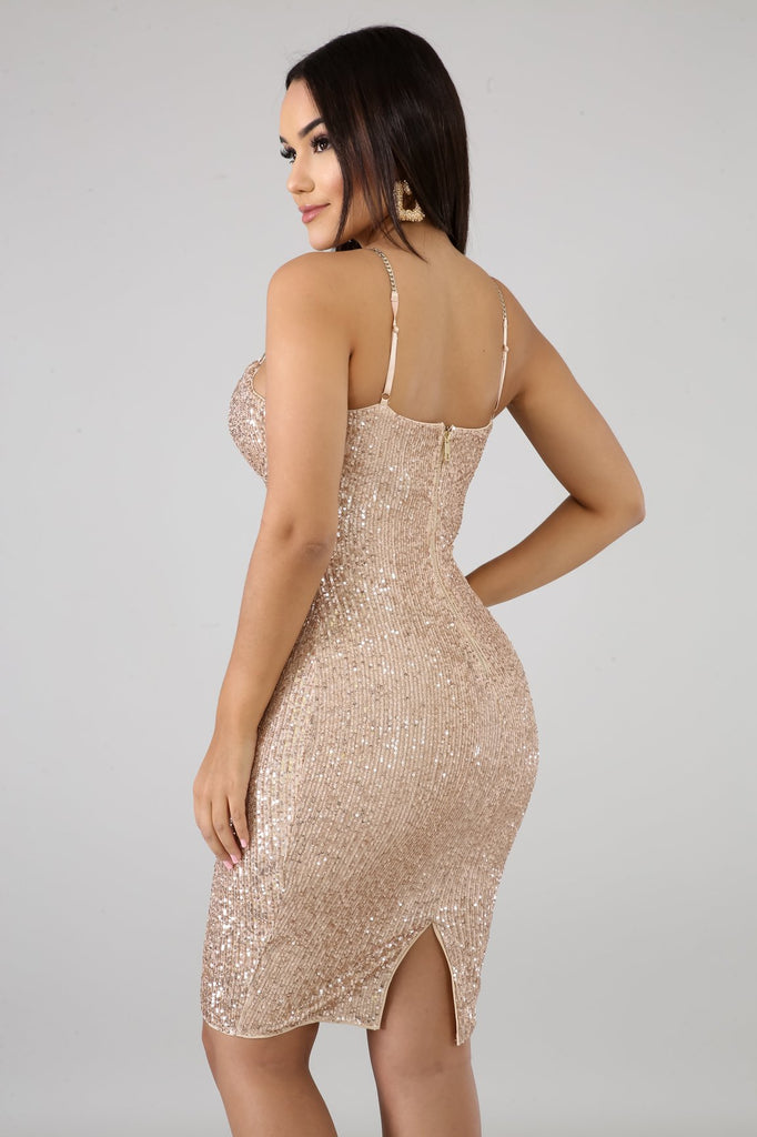 Kaylee Gold Strap Rose Gold Sequins Midi Dress