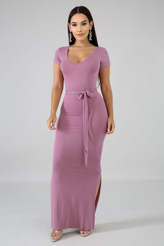 Karol Mauve Pink Jersey Knit Bodycon Midi Dress