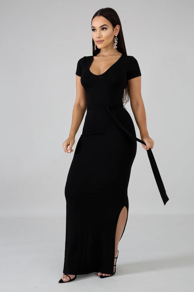 Karol Black Jersey Knit Bodycon Midi Dress