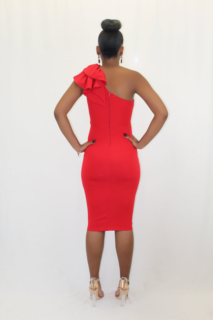 Nyomi Red One Shoulder Midi Dress