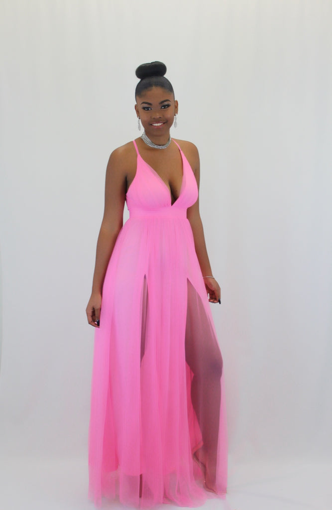 Alexis Pink High Slit Tulle Maxi Dress - FINAL SALE