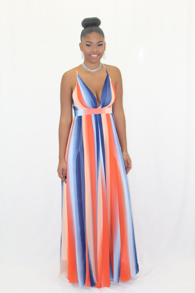 Alexis Multi-Colored Stripe Chiffon Maxi Dress - FINAL SALE