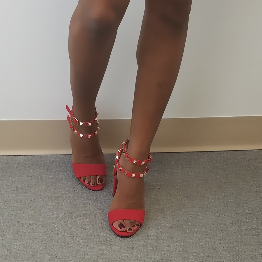 Becca Red Studded Ankle Strap Heels