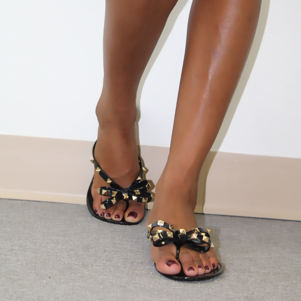 Studded Jelly Bow Flat Sandals Black