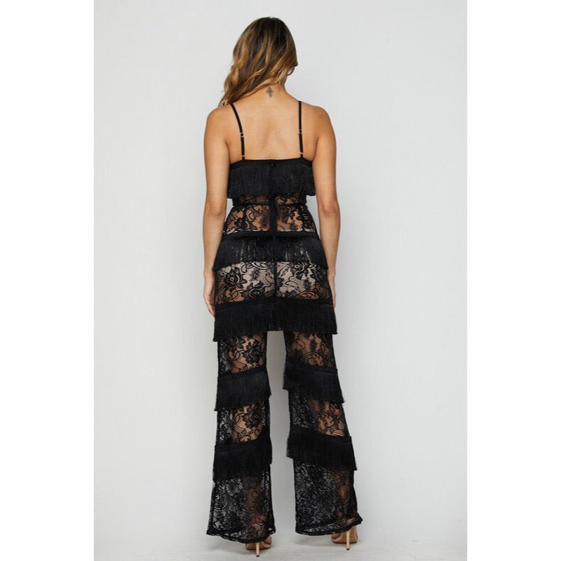 Black Lace Fringe Jumpsuit