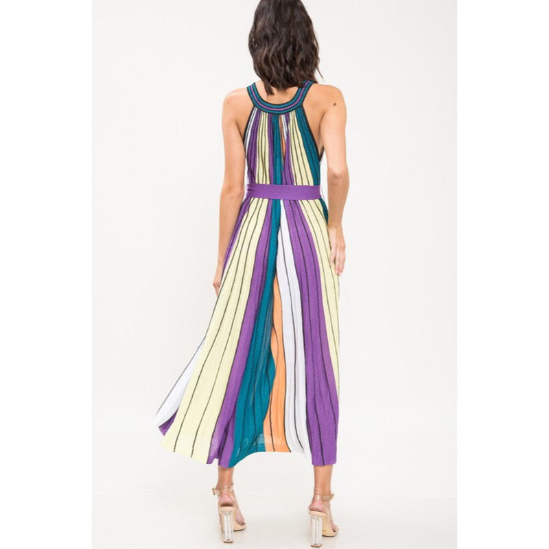 Multi-Stripe Glitter Midi Dress