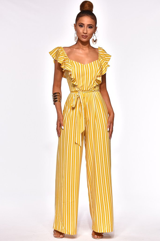 Caroline Mustard Yellow & White Stripe Ruffle Jumpsuit