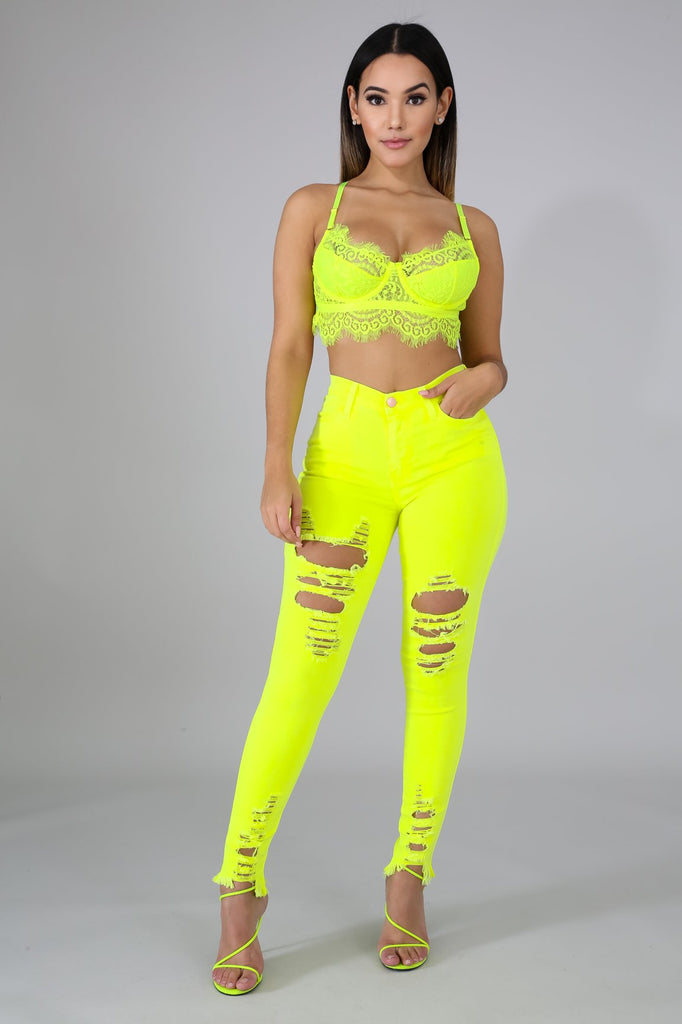 Vibrant Neon Yellow Distressed Jeans