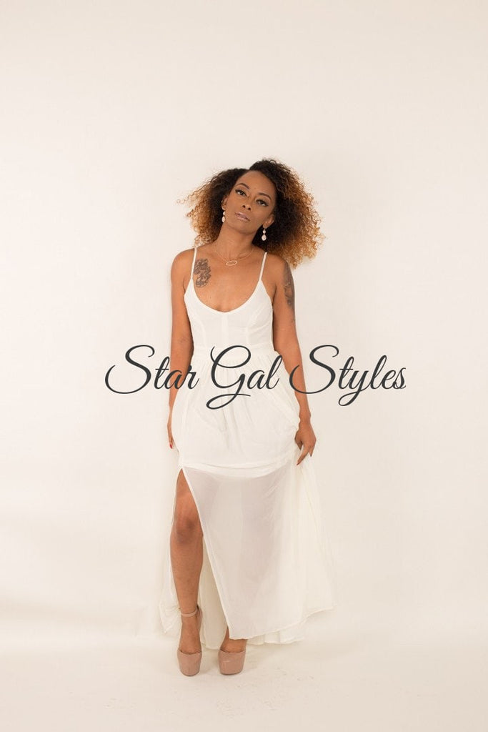 Serina Ivory Chiffon Maxi Dress