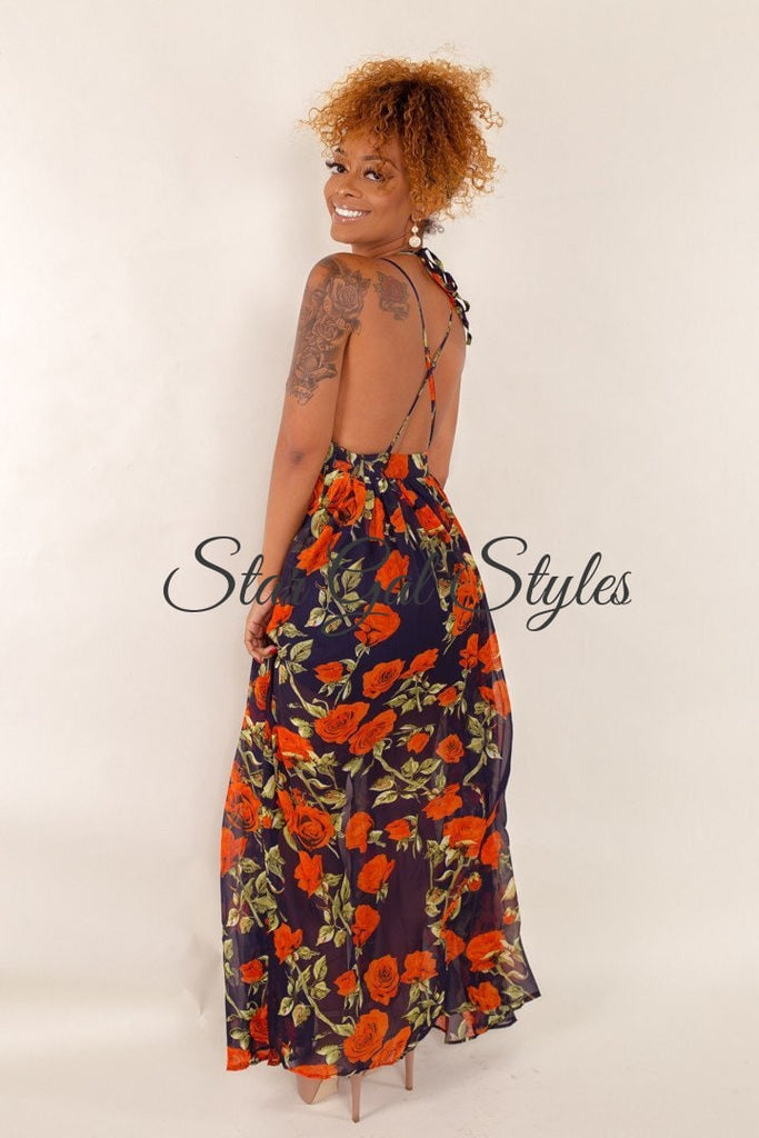 Saniyah Navy Floral Print Maxi Dress