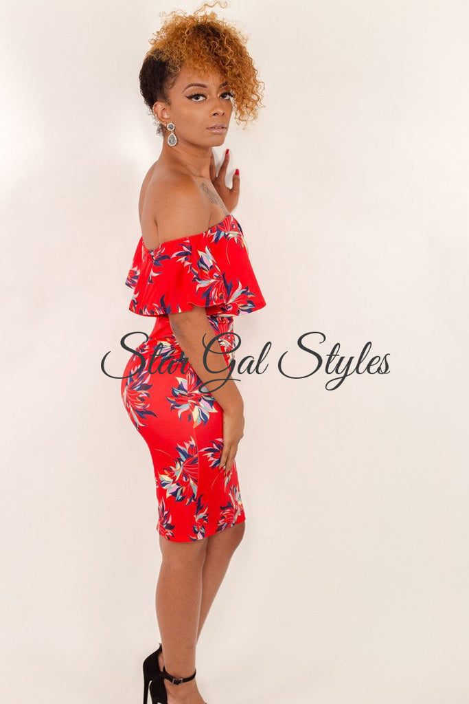 Erica Red Off Shoulder Dress