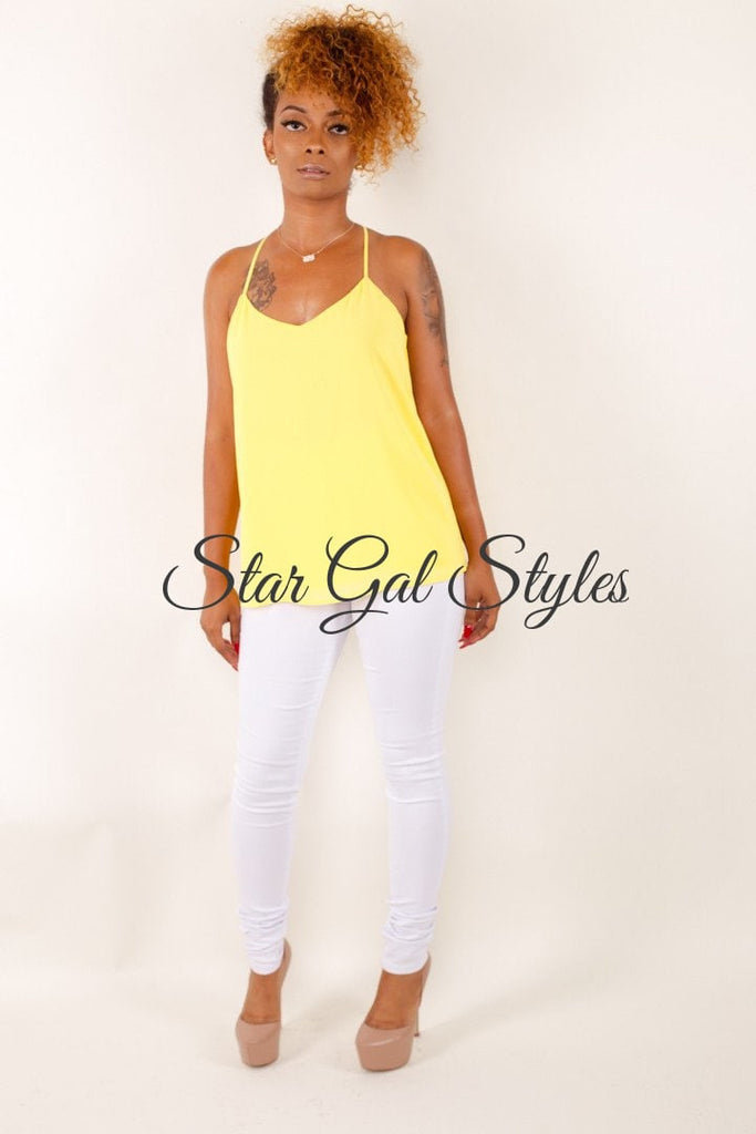 Bree Yellow Sleeveless Chiffon Blouse