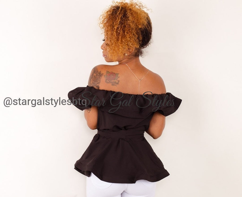 Natalee Black Off-the-Shoulder Peplum Top