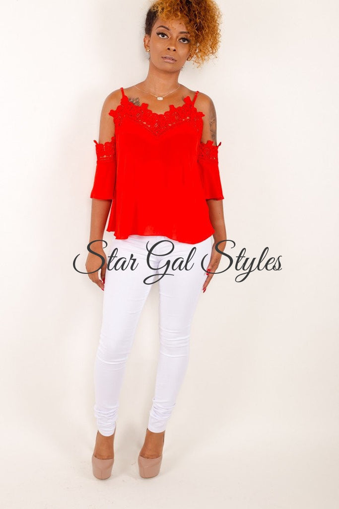 Camryn Red Lace Trim Camisole Top