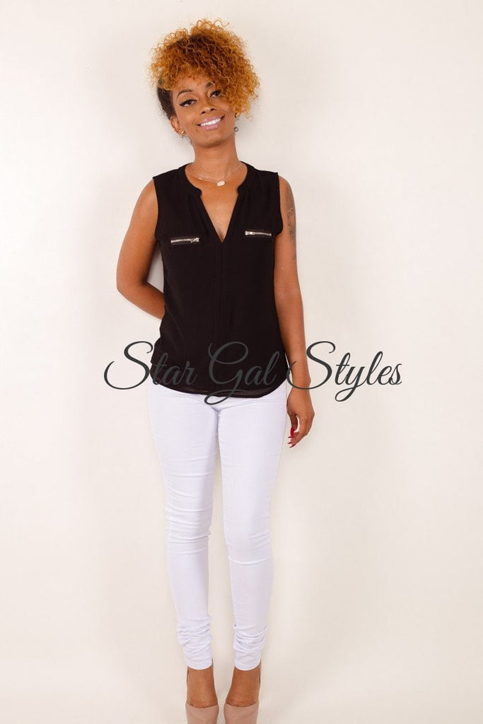 Roxy Black V-Neck Sleeveless Blouse