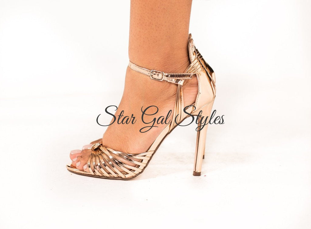Gigi Rose Gold Open Toe Strappy Heel