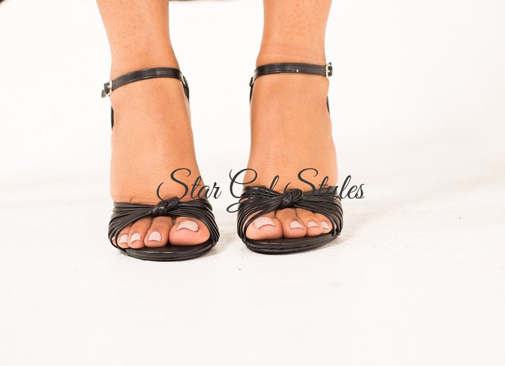 Gigi Black Open Toe Strappy Heel