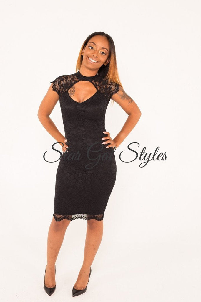 Lisa Black Fitted Lace Dress