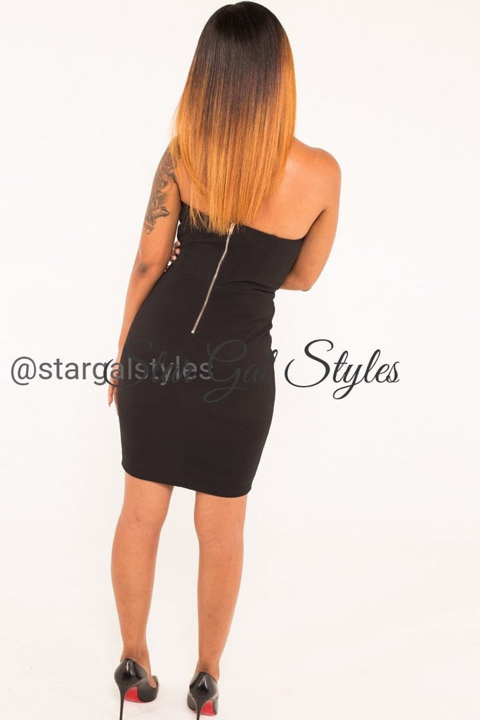 Lori Black Lace-up Front Strapless Dress