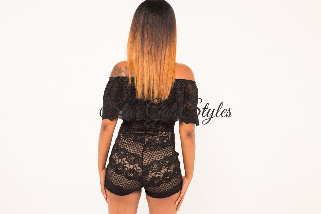 Aubrey Black Off-the-Shoulder Lace Romper