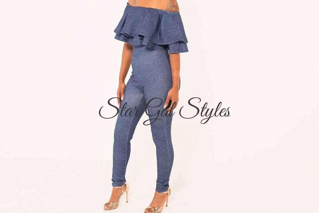 Amena Blue Ruffle Off-the-Shoulder Jumpsuit