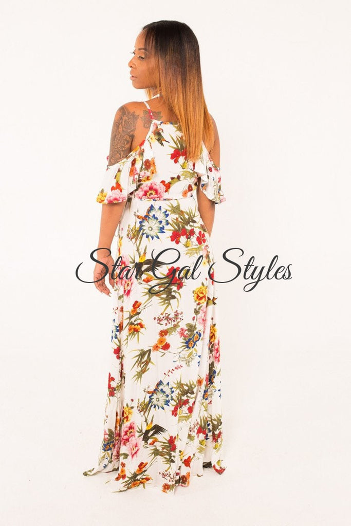 Bianca White Floral Print Ruffle Off Shoulder Wrap Dress