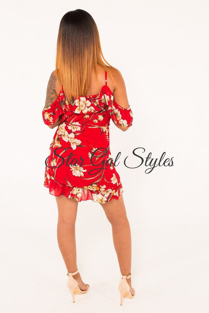Megan Red Floral Ruffle Off Shoulder Wrap Dress