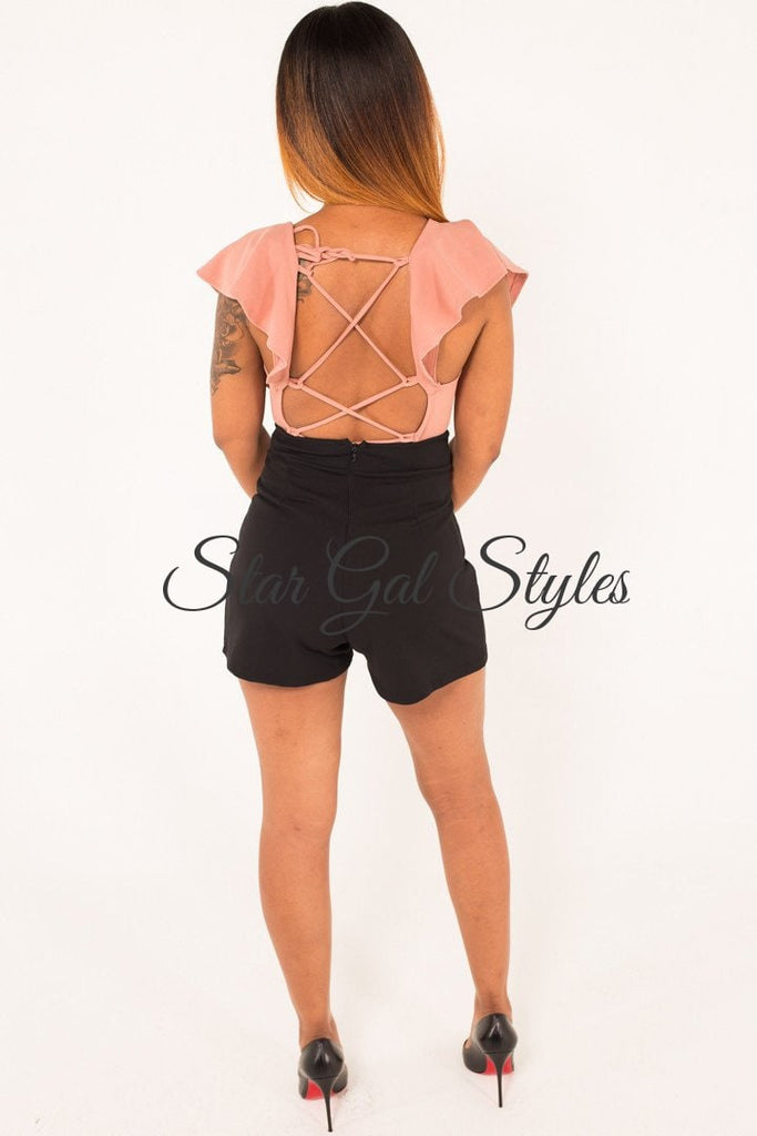 Daisy Black High Waist Shorts