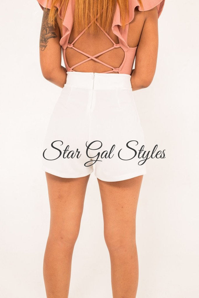 Daisy White High Waists Shorts