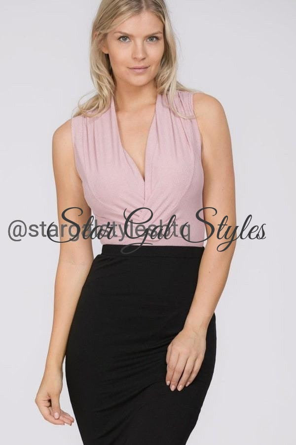Larsa Light Mauve Sleevless V-Neck Bodysuit