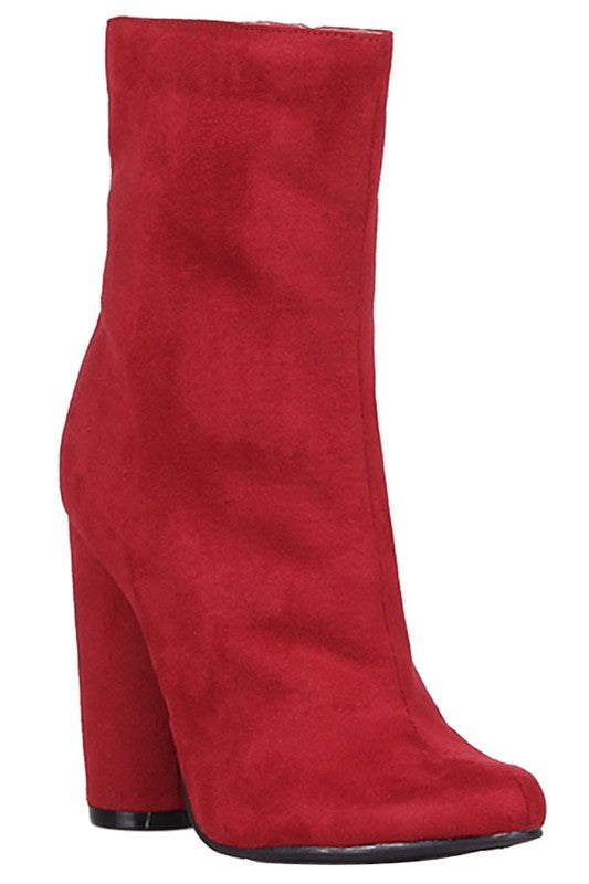 Elsie Red Round Toe Ankle Booties