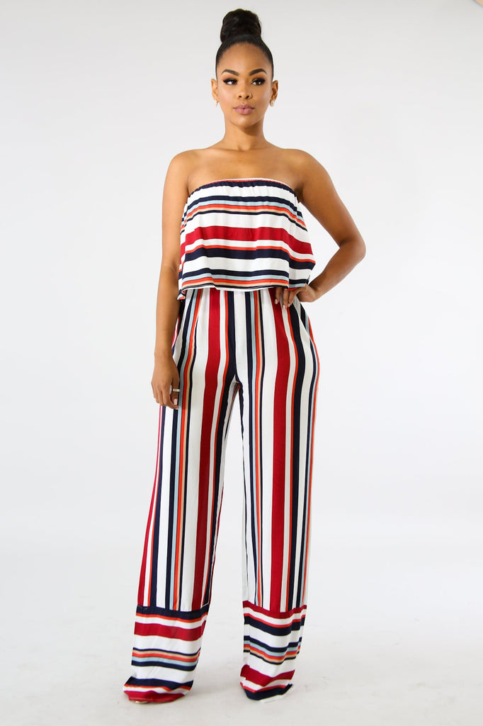 Raina Red Stripe Strapless Jumpsuit