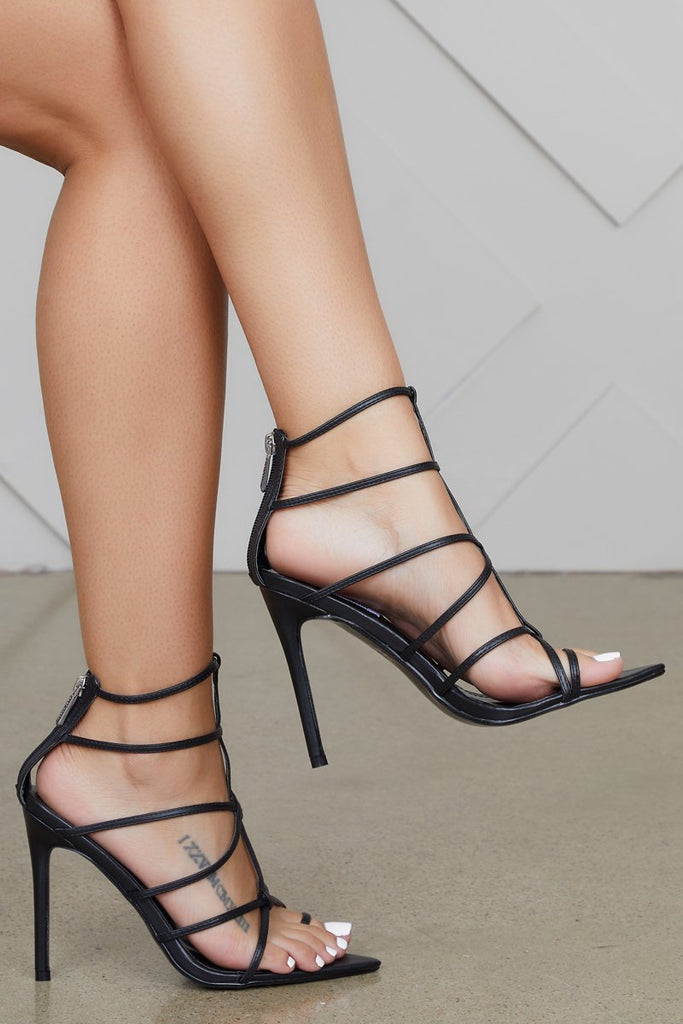 FRIDAY Black Strappy High Heels