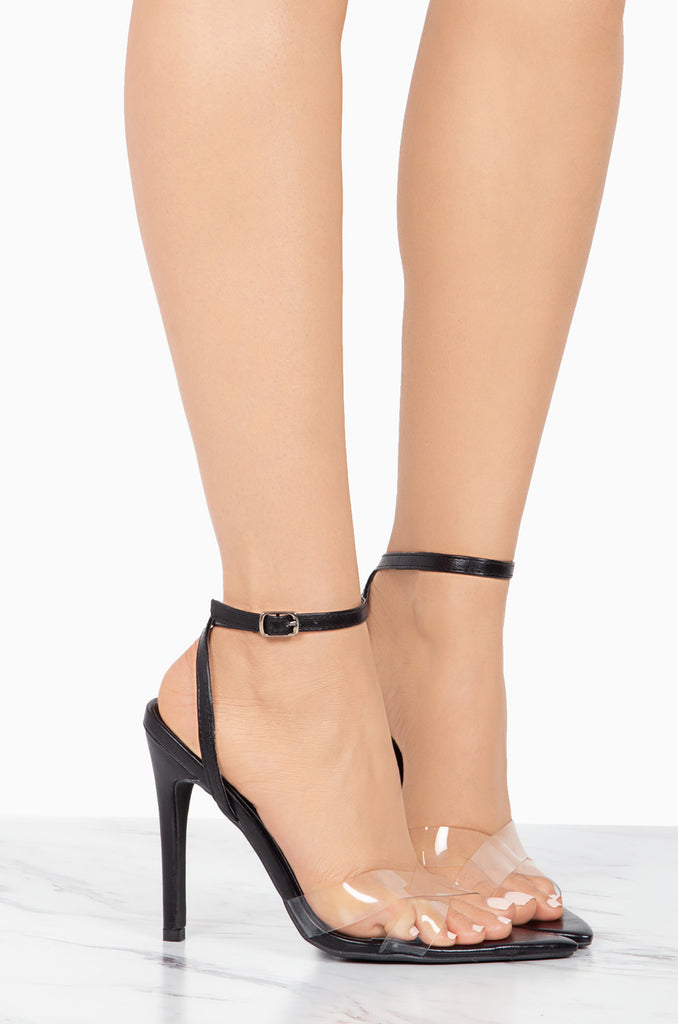 Double Cross Black Pointed Toe Heel