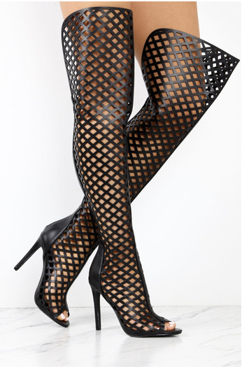 Caged Over The Knee Boots - Black