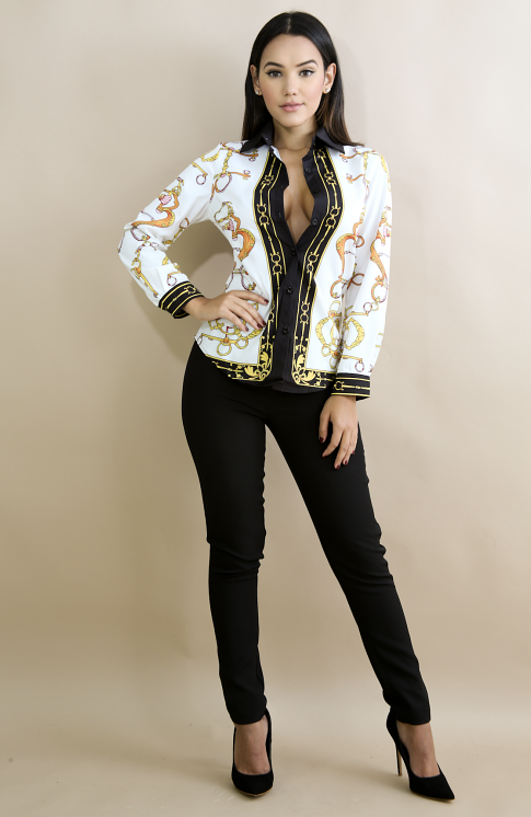 Lola White Chain Print Long Sleeve Blouse