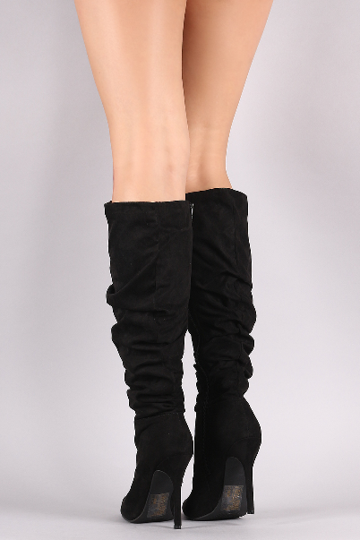 Gloria Black Slouchy Knee High Boots