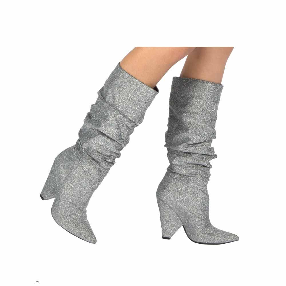 Silver Lurex Stretch Boot
