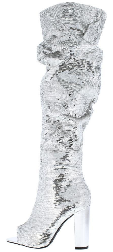 Sequin Over The Knee Peep Toe High Heel Boots - Silver