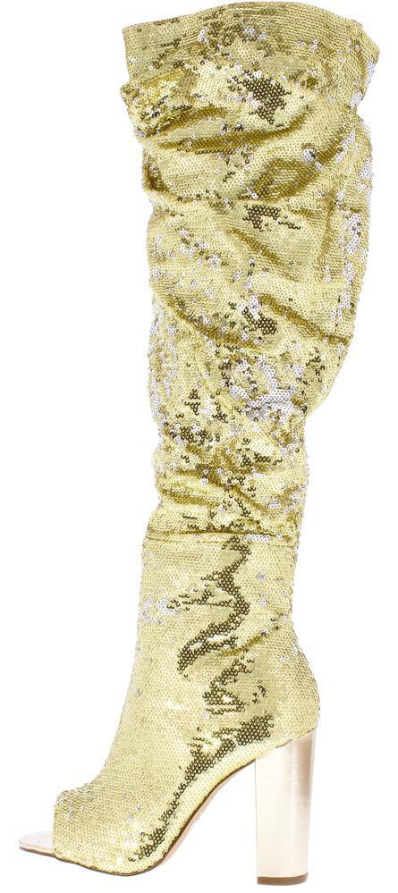Sequin Over The Knee Peep Toe High Heel Boots - Gold