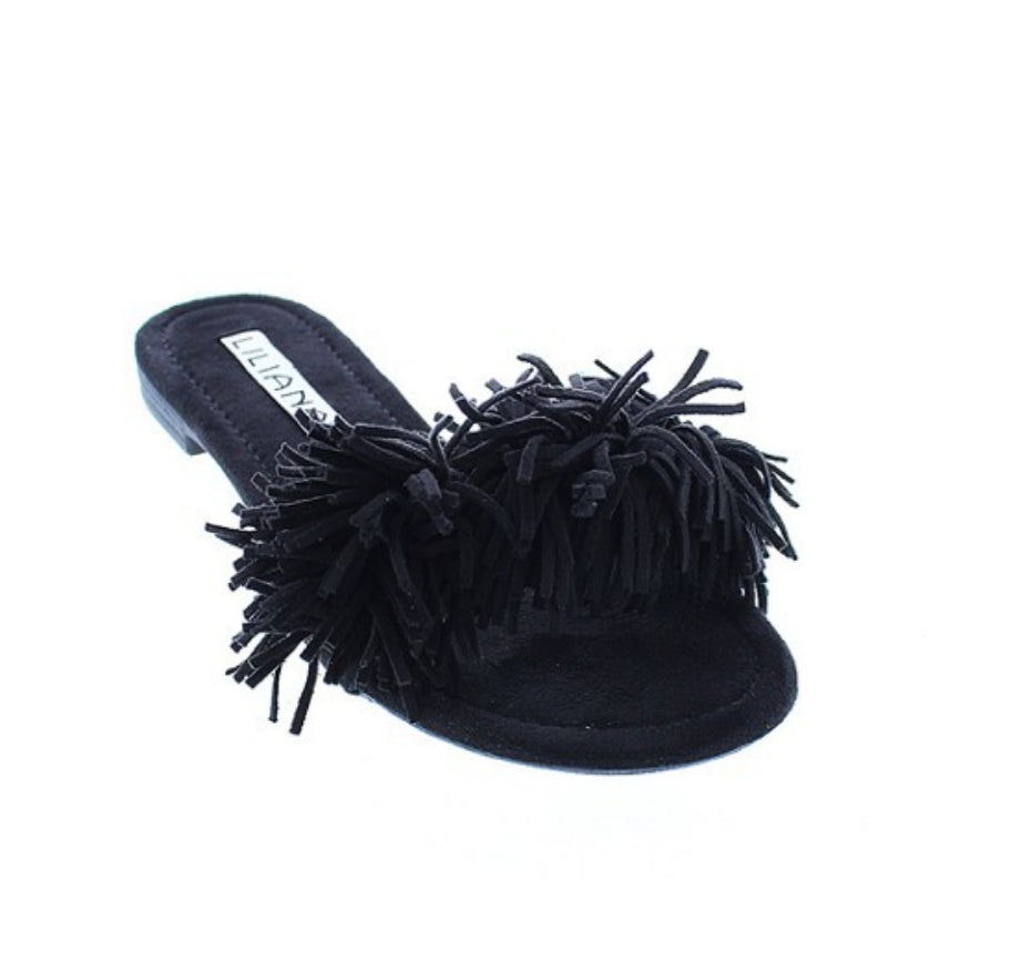 Dainty Black Fringe Single Sole Flat Sandal