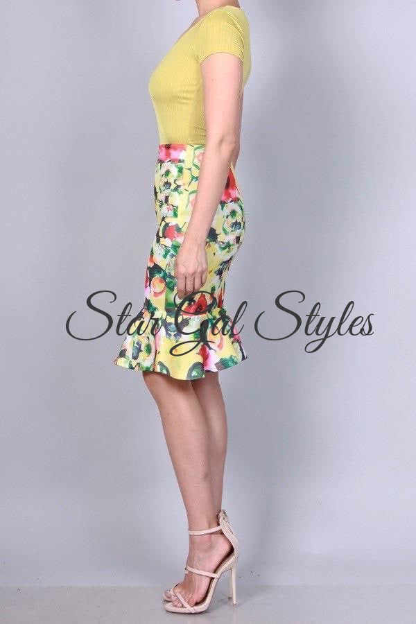 Olivia Yellow-Multi Body-Con Mermaid Skirt
